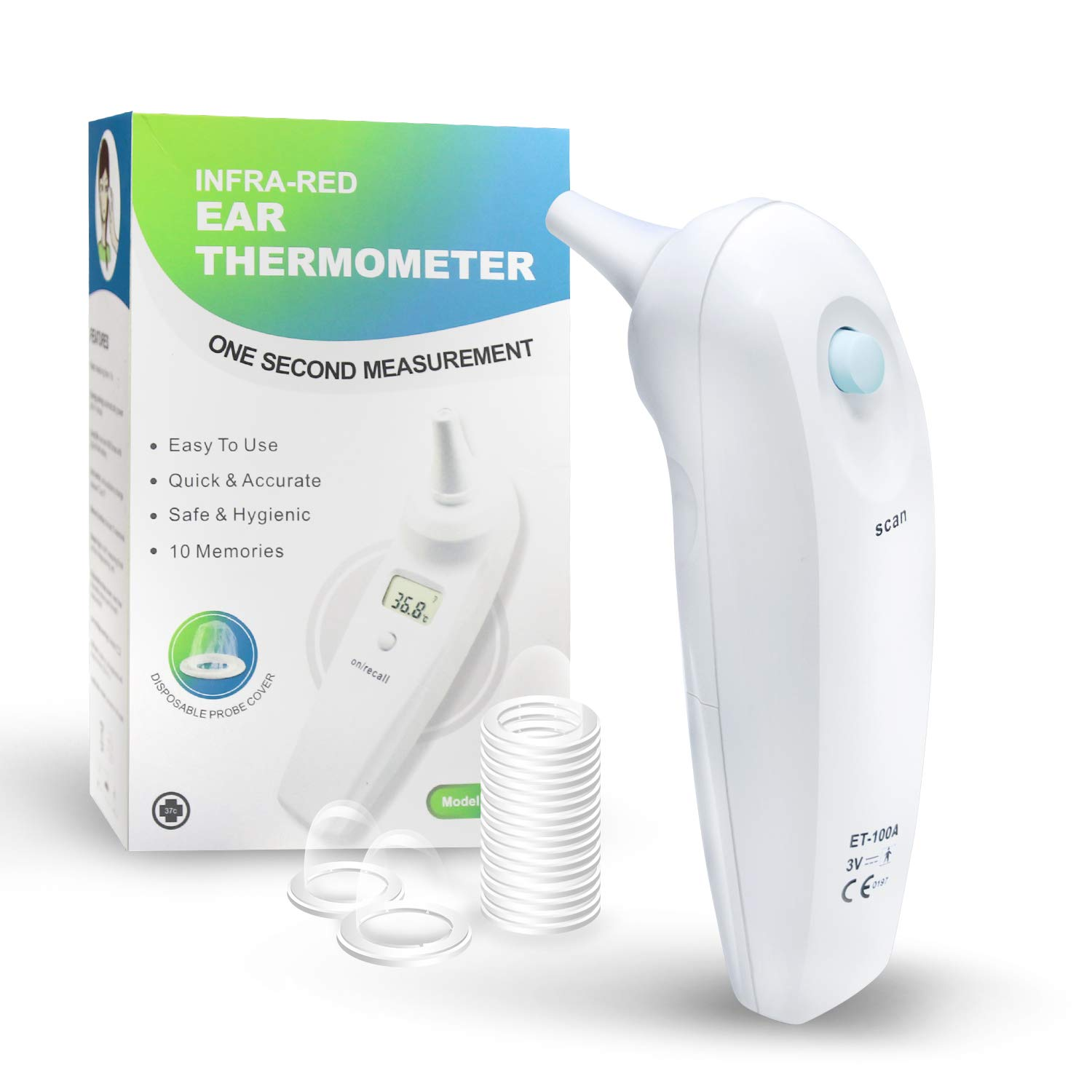 Digital Infra-red Ear Thermometer Baby Ear Thermometer with 20 Plastic Disposable Probe Covers for Babies, Kids and Adults