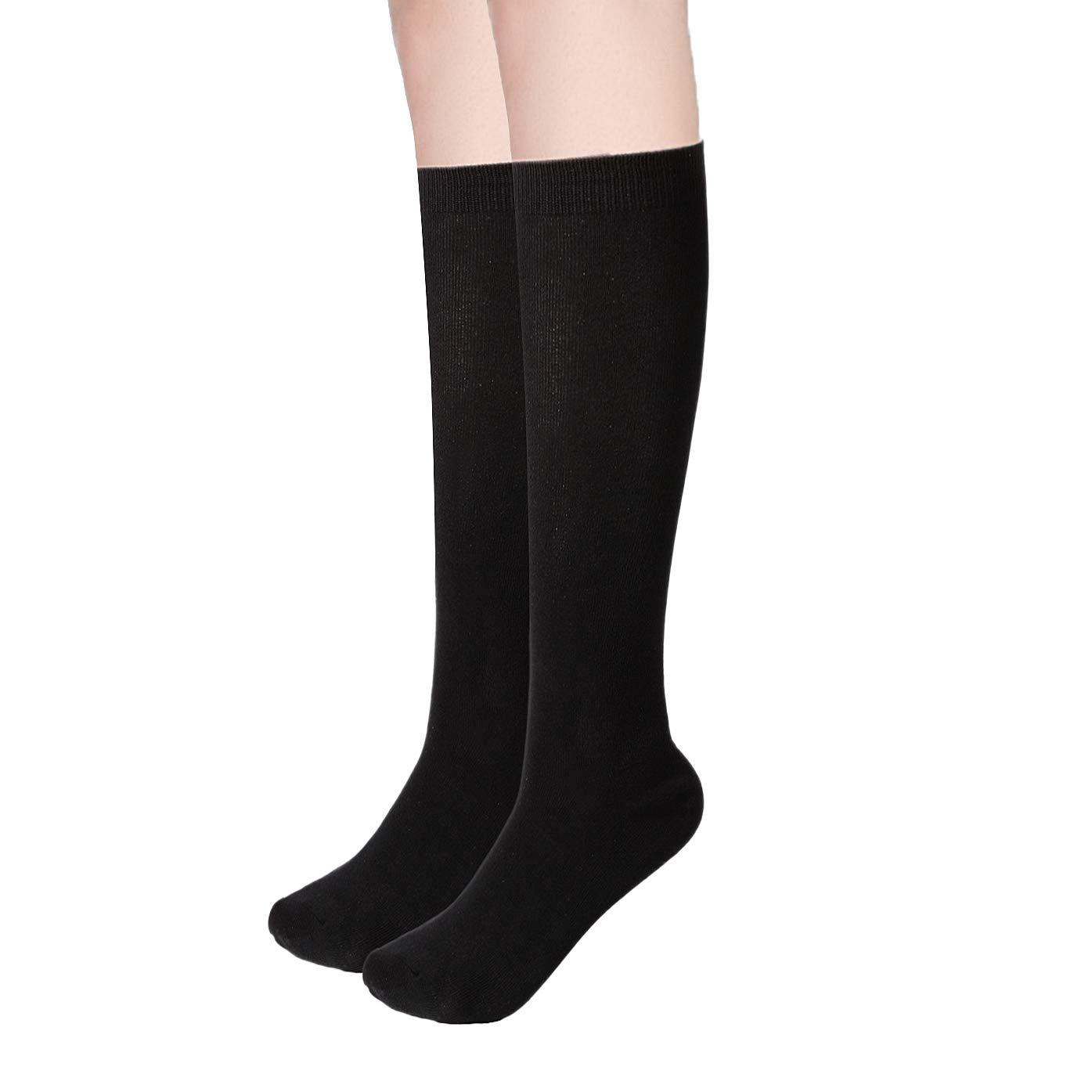 Women's Bamboo Casual Knee High Socks Seamless Toe Breathable Student/Teacher/Travel/Athletic Medium