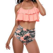 TEERFU Womens Two Piece Swimwear High Waisted Padded Halter Beach Bathing Suits Bikini Set