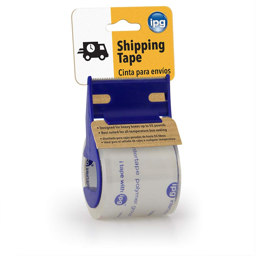"""IPG Clear Shipping Tape, 2"""" x 17.5 yd, (Single Roll With Dispenser)"""