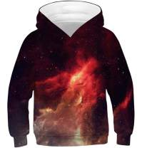 Teen Boys Girls Hoodies Casual Cool Hooded Sweatshirts Tops 3D Print Galaxy Nebula Space Universe Red Smoke Toddler Kids Pullover with Pockets