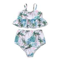 AMMENGBEI Toddler Baby Girl Swimsuit Floral Print Sling Bikini Top+Shorts Bathing Suits