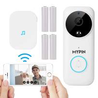 1080P Wireless Smart Doorbell, Security Camera with Two-Way Talk,PIR Motion Detection,Night Vision,4 Rechargeable Batteries and 30° Angle Plate