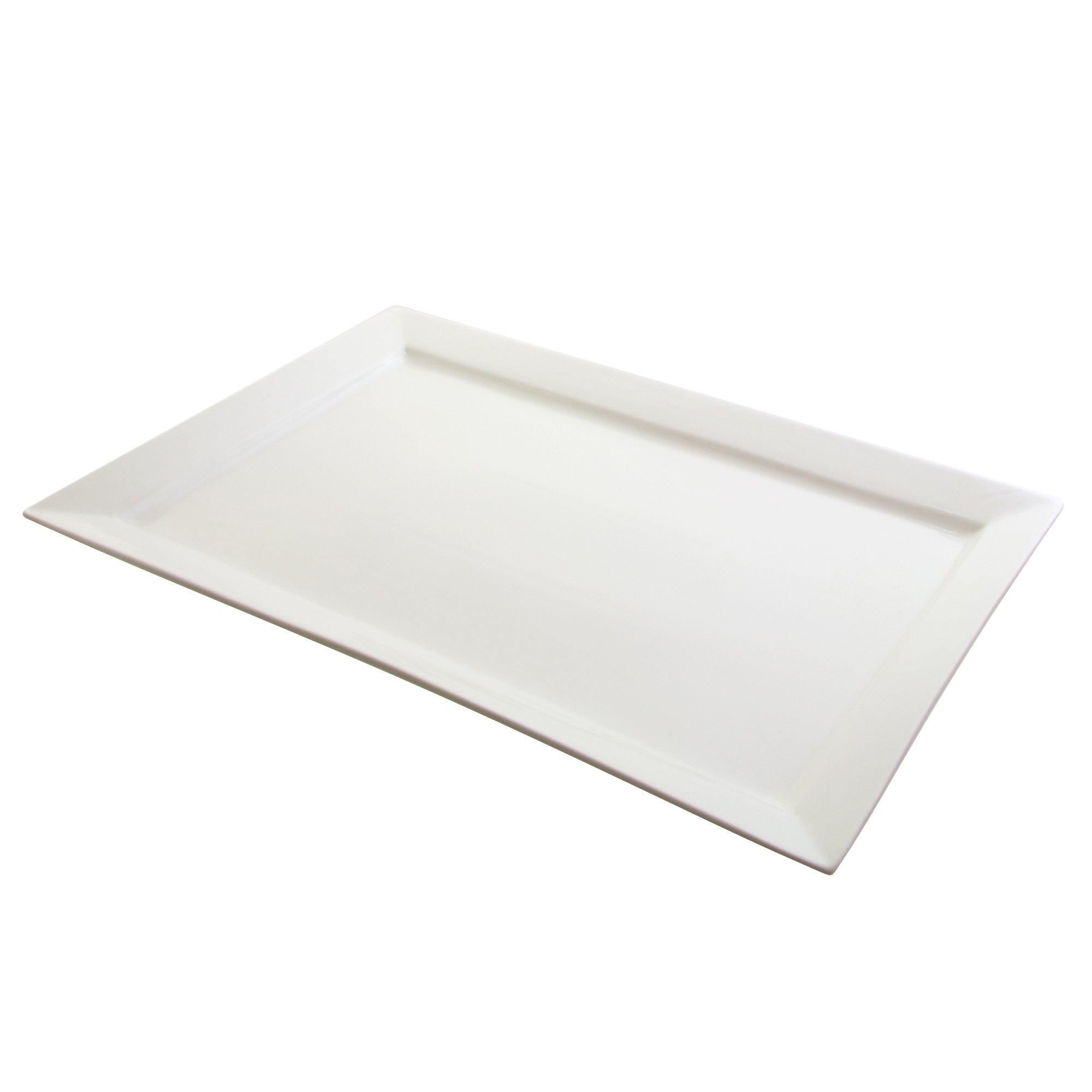 """10 Strawberry Street Whittier 21.75"""" x 14.75"""" Rectangular Platter, White"""