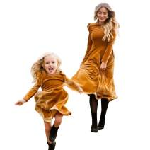 BYM Mommy and Me Dress Family Matching Outfits Long Sleeve Clothing Chirstmas Midi Dresses