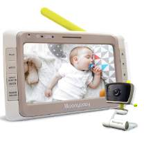 Moonybaby WideView 50 Baby Monitor with Camera and Audio, 5 Inches Large Display, Screen Split, Auto Night Vision and Zoom, Sound Activated, Temperature Alert, 2-Way Talk, Range up to 1000ft