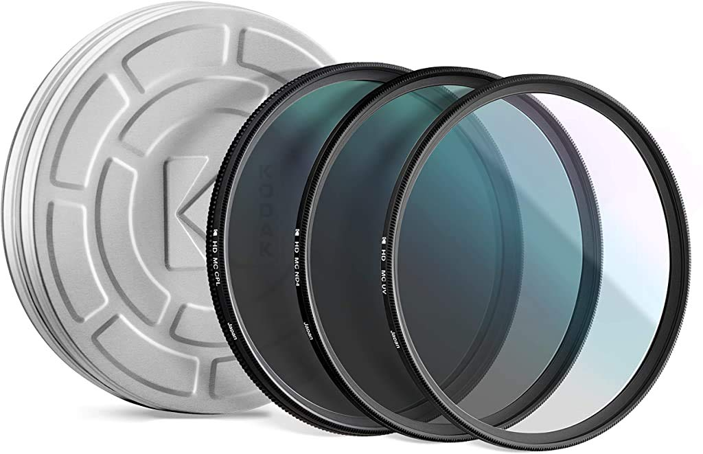 KODAK 105mm Filter Set Pack of 3 Premium UV, CPL & ND4 Filters for Various Photo-Enhancing Effects, Absorb Atmospheric Haze, Reduce Glare Prevent Overexposure, Slim, Multi-Coated Glass & Mini Guide