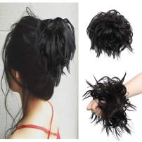 Messy Scrunchie Hair Bun Extension With Elastic Rubber Band Wrap On Fluffy Hair Extensions Updo Chignon Donut Messy Ponytail Hairpiece Hair Bun Synthetic For Women (Brown Black)
