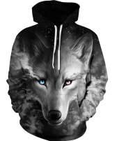 Idgreatim Women Men 3D Graphic Velvet Hoodie Novelty Long Sleeve Pullover Sweatshirt Jackets with Pockets S-3XL