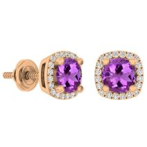 Dazzlingrock Collection 18K 5 MM Each Round Gemstone & White Diamond Ladies Halo Stud Earrings, Rose Gold