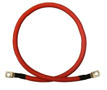 "2 AWG 2 Gauge Single Red 1 Foot w/ 5/16"" + 3/8"" Lugs Pure Copper PowerFlex Battery Inverter Cables for Solar, RV, Auto, Marine Car, Boat"