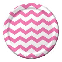 Creative Converting 96-Count Paper Dinner Plates, Chevron Candy Pink