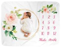 "Milestone Blanket Monthly for Boy and Girl/Monthly Blanket for Baby Pictures/Growth Tracker Custom Baby Shower Gift for Newborns Baby New Mom/Floral Blanket for Newborn Nursery (Pink, 40"" x 60"")"