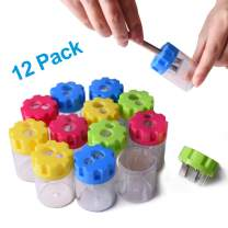 LOBKIN Pencil Sharpener Double Hole Serrated Shaped with Cover and Receptacle Manual Pencil Sharpener Hand Pencil Sharpener for Office Home Supply (C)