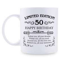 50th Birthday Gifts for Women Men - 11 oz Coffee Mug - 50 Year Old Present Ideas for Mom, Dad, Wife, Husband, Son, Daughter, Friend, Colleague, Coworker (50th Birthday Gift)