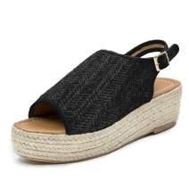 Blivener Espadrille Wedge Sandals Casual Summer Peep Toe Slingback Platform Sandals Shoes