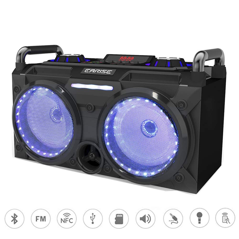 """EARISE DT60-E Portable PA System Bluetooth Speaker with Wireless Microphone, Rechargeable Karaoke Speaker with FM Radio, DJ Party LED Light, 2 X 5.25"""" Subwoofer, Remote Control, AUX/MicroSD/USB/NFC"""