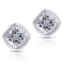 DovEggs 10K White Gold Post 2ct 6X6mm G-H-I Color Cushion Cut Moissanite Stud Earring Bezel Setting Platinum Plated Silver Push Back for Men and Women