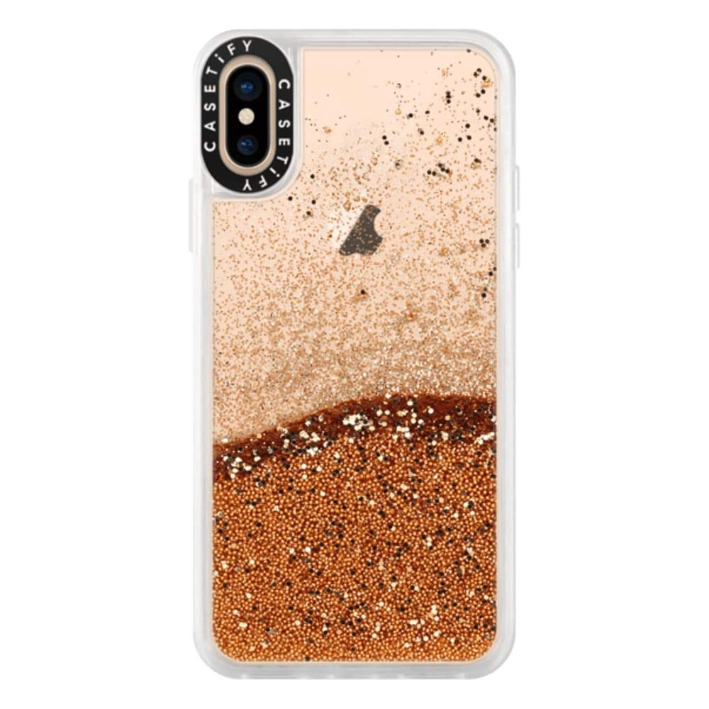 Casetify Gold Glitter iPhone Xs/X Case with Gold Floating Glitter Sparkle in Liquid Clear Back and Shockproof Drop Proof Frost Bumper and Wireless Charging Compatibility for iPhone Xs/X