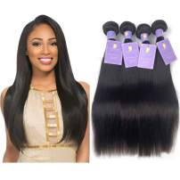 Natacee 12A Brazilian Human Hair Bundles Weave Straight Women Virgin Hair Extensions Weft UnprocessedFull Ends True Length, 10 inch Natural Black Color