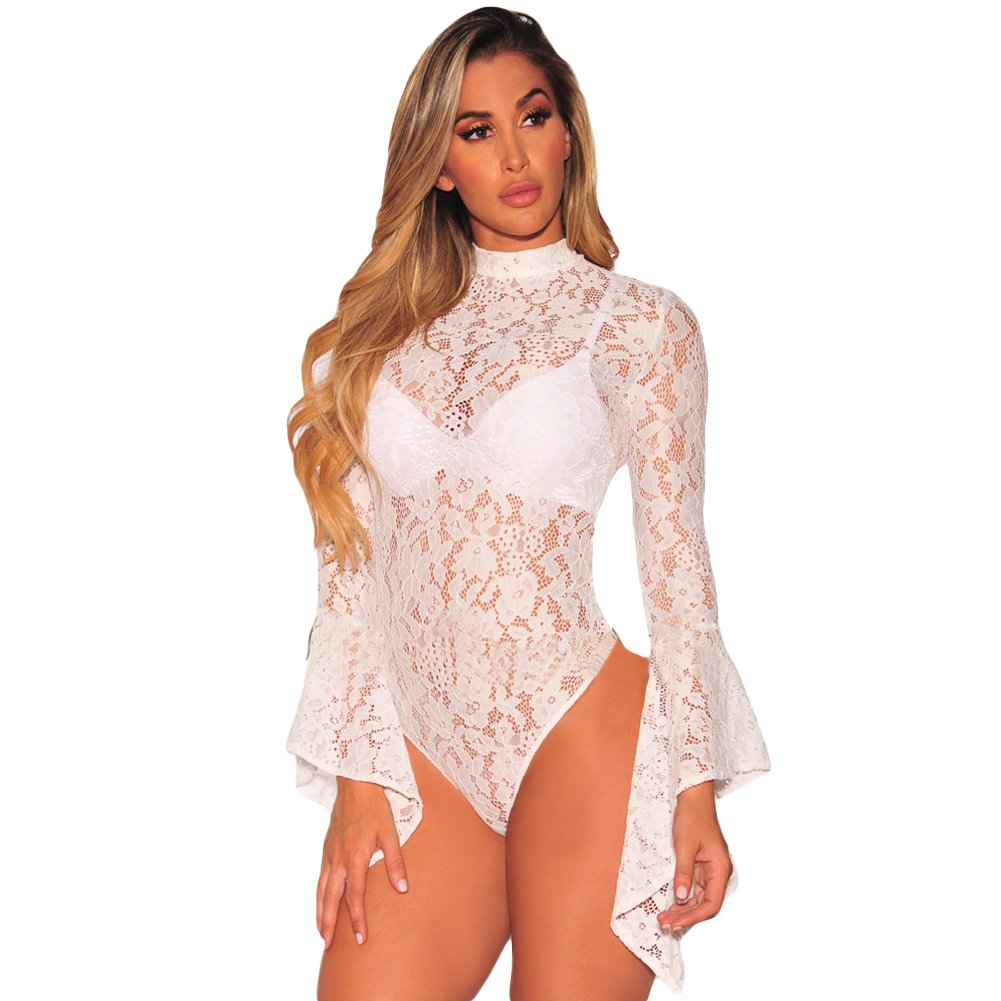 Romacci Women Sexy Lace Bell Long Sleeve Mesh Sheer Babydoll Bodysuit