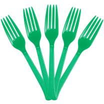 JAM PAPER Premium Utensils Party Pack - Plastic Forks - Green - 48 Disposable Forks/Pack