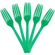 JAM PAPER Premium Utensils Party Pack - Plastic Forks - Green - 48 Disposable Forks/Pack