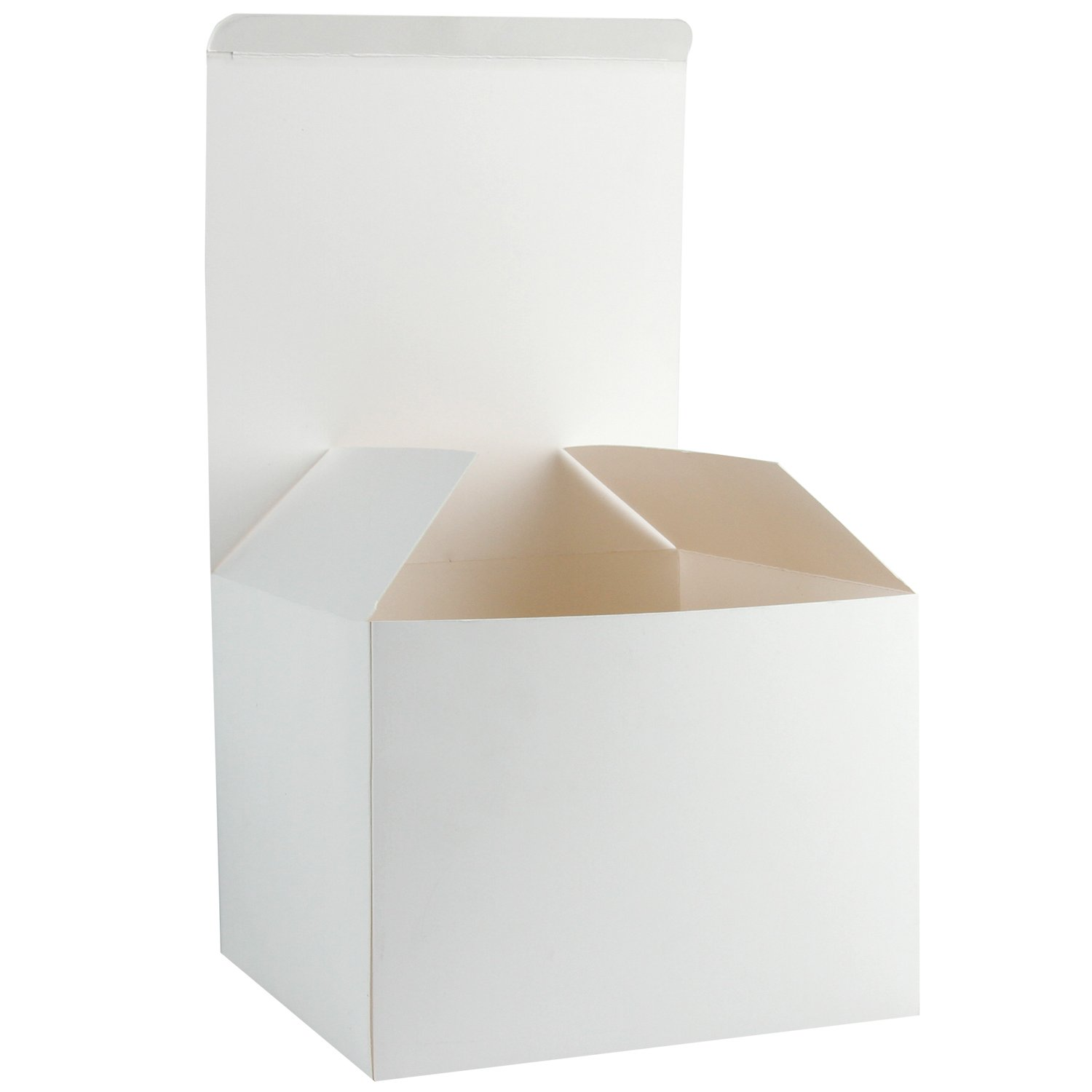 """RUSPEPA Recycled Cardboard Gift Boxes - Decorative Medium Gift Box with Lids for Gifts and Cupcake - 8""""X8""""X6"""" - 10 Pack-White"""