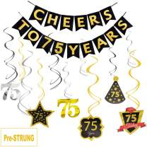 75th Birthday Banner Party Decorations, JESWELL Pre Threaded Cheers to 75 Years Banner, Sparkling Celebration Hanging Swirls for 75 Years Old Party Supplies