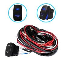 Liteway One-To-Two Universal LED Light Bar Wiring Harness Kits 24V/40A Relay ON-OFF Blue Laser Rocker Switch Weatherproof(2 Lead 12ft), 1 Year Warranty