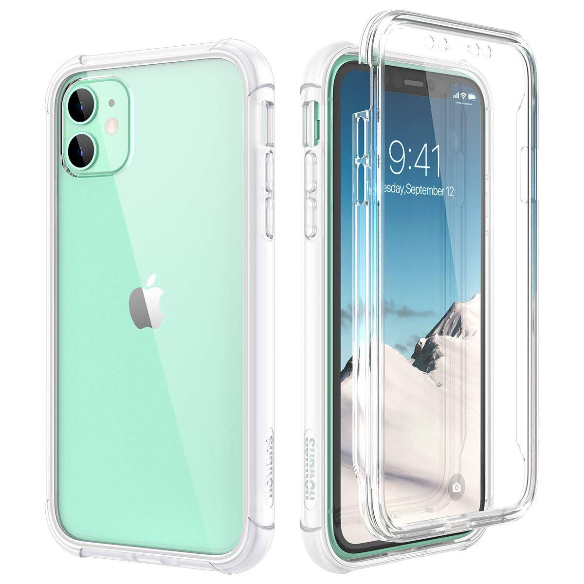 """SURITCH Clear Case for iPhone 11,【Built in Screen Protector】【Support Wireless Charging】 Hybrid Protection Hard Shell+Soft TPU Rubber Bumper Rugged Case Shockproof for iPhone 11 6.1""""(Clear)"""