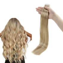 RUNATURE Remy Hair Tape in Extensions 14 Inches Color 16P24 Golden Blonde Highlighted with Light Blonde 50g (2.5g Per Piece, 20 Pieces) Real Hair Extension for Women