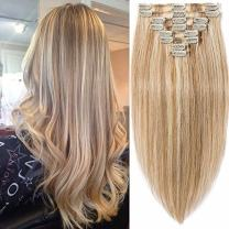 S-noilite Clip in Human Hair Extensions 16inch 90g 18 Clips 8pcs Wefted Standard Weft Clipon Hair Extension Full Head Highlighted Ombre Natural Layered Clipin Hair #12/613 Golden Brown/Bleach Blonde