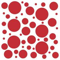 Set of 300 (Red) Vinyl Wall Decals - Assorted Polka Dots Stickers - Removable Adhesive Safe on Smooth or Textured Walls - Round Circles - for Nursery, Kids Room, Bathroom Decor