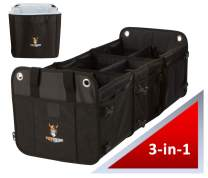 TUFF VIKING Convertible Large 3 Compartment SUV Trunk Organizer | Grocery Organizer w Tie Down Straps and Insulated Leakproof Cooler Bag for Cars, Trucks and SUVs. PATENTED (3-in-1 w/Cooler, Black)