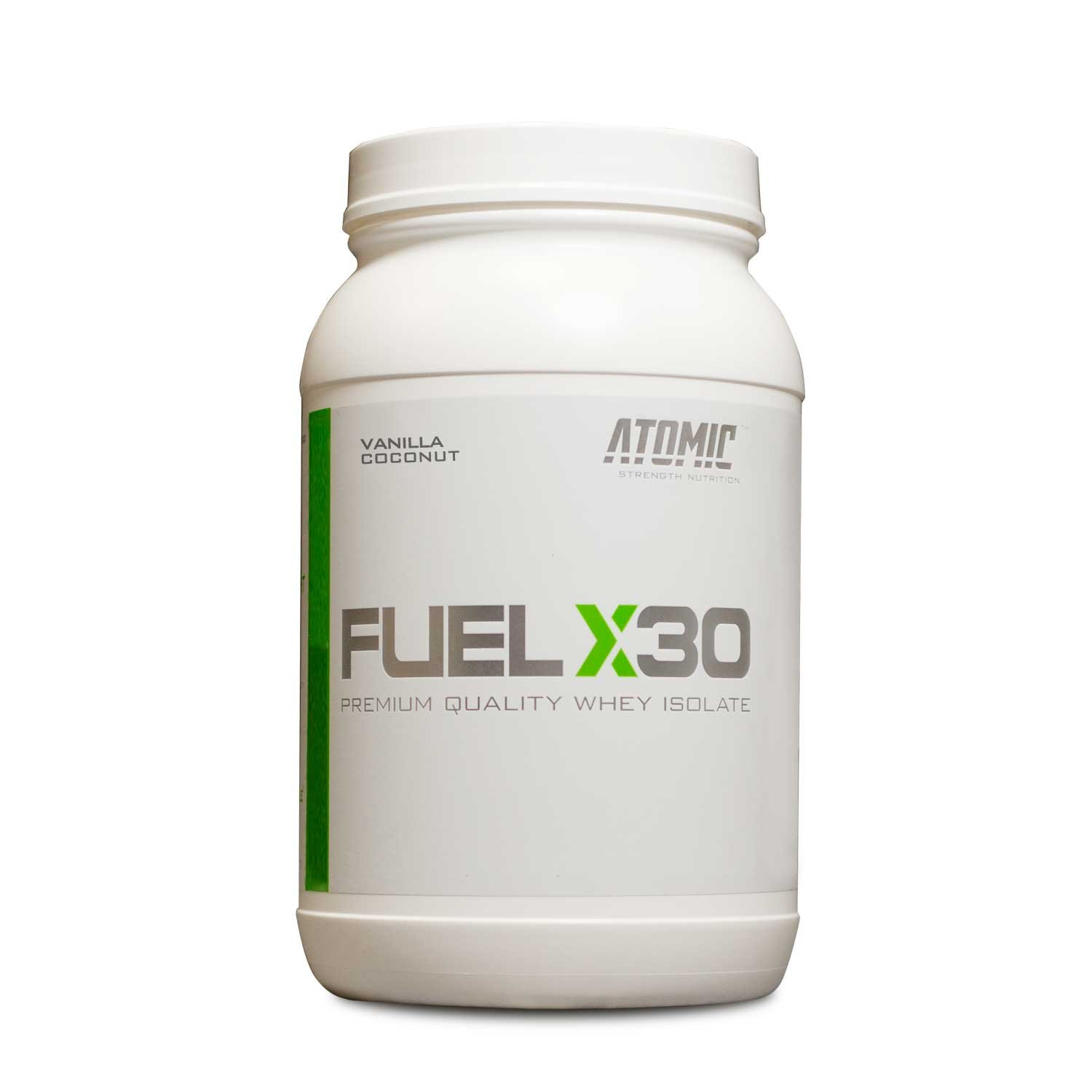 Delicious Vanilla Coconut Flavor, Fuel X30 Premium Quality Whey Isolate Protein, Atomic Strength Nutrition, 2 Pounds, 25g Protein Per Scoop