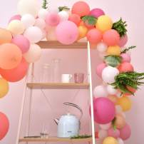 Pink Balloon Arch Garland Kit,100pcs Pastel Pink Party Balloons 10 Colors for Party Decoration Birthday Wedding Baby Shower.Includes Decorating Garland Strip and Glue Dots