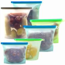 Reusable Silicone Food Storage Bags, KITHELP food storage containers with 2 extra large (4L/ 135oz/ 16 cups),2 large (1.5L/ 50oz/ 6 cups) and 2 Medium (1L/ 30oz/ 4 cups)
