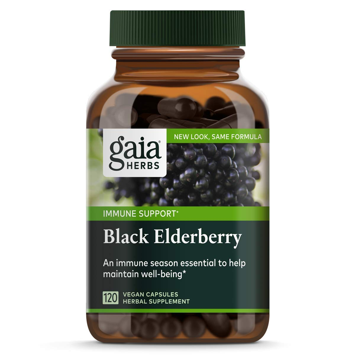 Gaia Herbs, Black Elderberry, Organic Sambucus Elderberry Extract for Daily Immune and Antioxidant Support, Vegan Powder Capsules, 120 Count (Pack of 1)