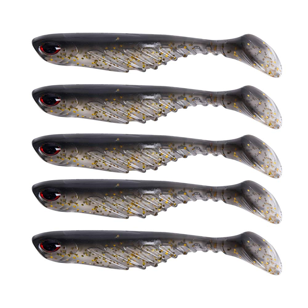 Dr.Fish 5 Pack Soft Fishing Lure Paddle Tail Soft Swimbait 3D Eyes 2.75 Inches Deep Ribes Gold Glitters Freshwater Plastic Bass Lures