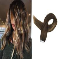 Full Shine Tape In Hair Extensions 14 Inch Ombre Balayage 3 Fading To 14 Highlight 6 Brown Pre-Colored Hair Extensions 50G Golden Blonde Human Hair 20Pcs Skin Weft Hair Extensions