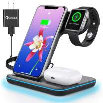 Wireless Charger, 3 in 1 Qi-Certified 15W Fast Charging Station for Apple iWatch SE/6/5/4/3/2,AirPods Pro/2, Charging Stand for for iPhone 12/11 Series/XS MAX/XR/XS/X/8/8 Plus