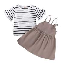Toddler Baby Girl Skirt Set Ruffle Sleeve Striped Top Solid Color Halter Dress Clothes Set