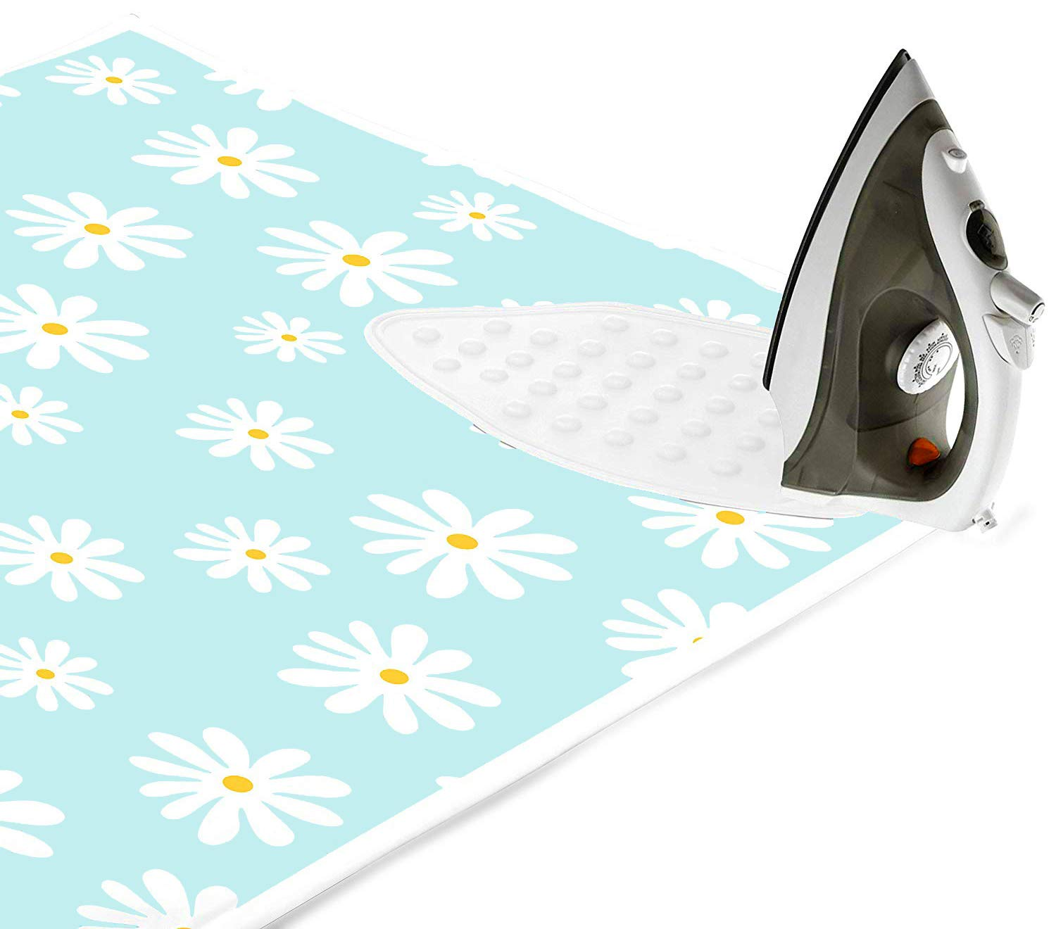 Encasa Homes Ironing Mat/Pad (Large 47 x 28 inch) with 3mm Padding & Silicone Iron Rest for Steam Pressing on Tabletop or Bed - Heat Resistant, Portable, Quilting & Travel Blanket - Daisy Blue