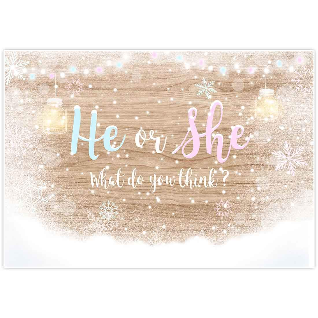 Allenjoy 8x6ft Winter Gender Reveal Backdrop Girl or Boy Supplies Newborn Pregnancy Announcement Surprise Party Baby Shower Baptism Mason Jars Rustic Wood Background Candy Table Decorations Props
