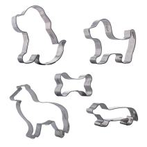 Cookie Cutter Dog Bone Set - 5 pcs Stainless Steel Shaped - Easy To Clean - Ideal for Fondant Fruit Mold Dough Keks Biscuits and more