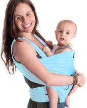 9-in-1 CuddleBug Baby Wrap Sling + Carrier - Newborns & Toddlers up to 36 lbs - Hands Free - Gentle, Stretch Fabric - Ideal for Baby Showers - One Size Fits All (Light Blue)
