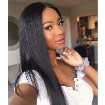 JUNRAN HD Transparent 13x6 Lace Front Human Hair Wigs Straight 150% Density Pre Plucked Brazilian Remy Hair Glueless HD Invisible Deep Part Lace Wig with Bleached Knots for Women Natural Color 16inch