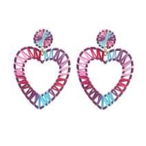 Summer Fashion Statement Geometric Raffia Earrings Handmade Hoop Drop Earring Boho Bohemian Lightweight Colorful Woven Straw Rattan Dangle Plam Earring Jewelry Women Girls