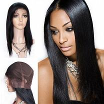 Mike & Mary Top 7A All Handmade Human Hair Full Lace Wigs Straight for Black Women Brazilian Virgin Human Hair at Density 180%(16inch 180, Natural Color)